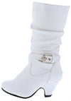 Kale10k White Side Buckle Knee High Kids Boot - Wholesale Fashion Shoes