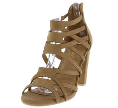 KALI01 BEIGE SUEDE CAGE SLANTED HEEL - Wholesale Fashion Shoes