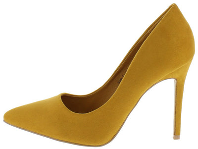 Kali01 Mustard Pointed Toe Stiletto Heel - Wholesale Fashion Shoes