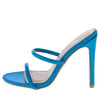 Kali Teal Dual Strap Open Toe Mule Stiletto Heel - Wholesale Fashion Shoes