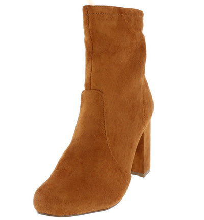 Kalin Mocha Almond Toe Stretch Chunky Heel Ankle Boot - Wholesale Fashion Shoes