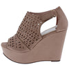 Kama03 Mauve Peep Toe Cut Out Laser Cut Platform Wedge - Wholesale Fashion Shoes