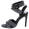 Emily076 Black Fabric Cross Strap Open Toe Slingback Heel - Wholesale Fashion Shoes