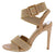 Emily076 Nude Fabric Cross Strap Open Toe Slingback Heel