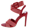 Emily076 Red Fabric Cross Strap Open Toe Slingback Heel - Wholesale Fashion Shoes