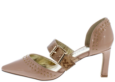 Kamana Taupe Studded Pointed Toe Boa Buckle Strap Short Heel - Wholesale Fashion Shoes