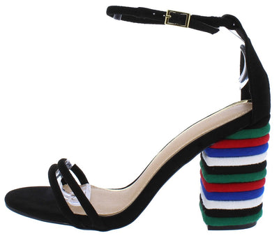 Charlotte257 Black Suede Open Toe Ankle Strap Multi Chunky Heel - Wholesale Fashion Shoes