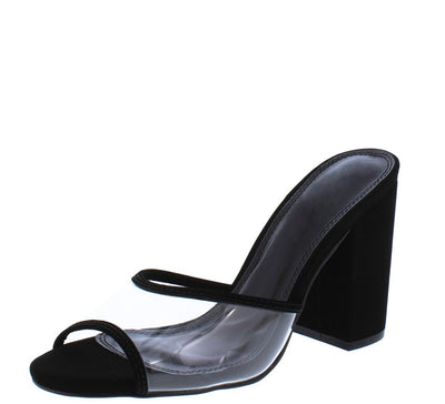 Mila158 Black Piped Lucite Peep Toe Chunky Mule Heel - Wholesale Fashion Shoes