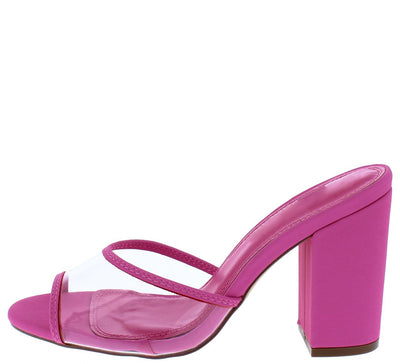 Mila158 Pink Piped Lucite Peep Toe Chunky Mule Heel - Wholesale Fashion Shoes