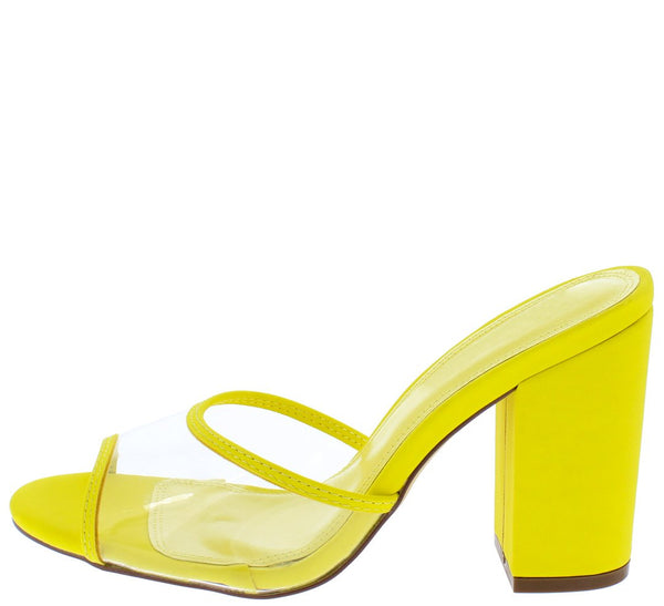 47d0aab464 Mila158 Yellow Piped Lucite Peep Toe Chunky Mule Heel