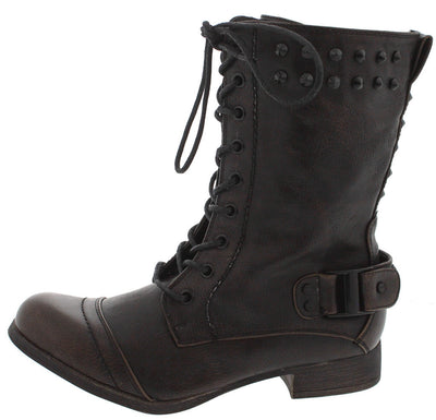 Kanster1 Black Studded Combat Boot - Wholesale Fashion Shoes