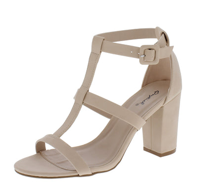 Karden09 Nude Nubuck Pu Caged Open Toe Block Heel - Wholesale Fashion Shoes