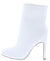 Rachel279 White Pu Square Toe Block Heel Boot