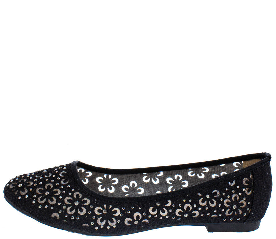 0ba9290cceb3 Karra13 Black Sparkle Mesh Flower Cut Out Flat - Wholesale Fashion Shoes