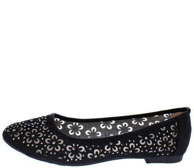 Karra13 Black Sparkle Mesh Flower Cut Out Flat - Wholesale Fashion Shoes