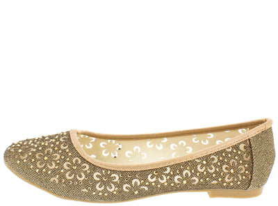 Karra13 Champagne Sparkle Mesh Flower Cut Out Flat - Wholesale Fashion Shoes