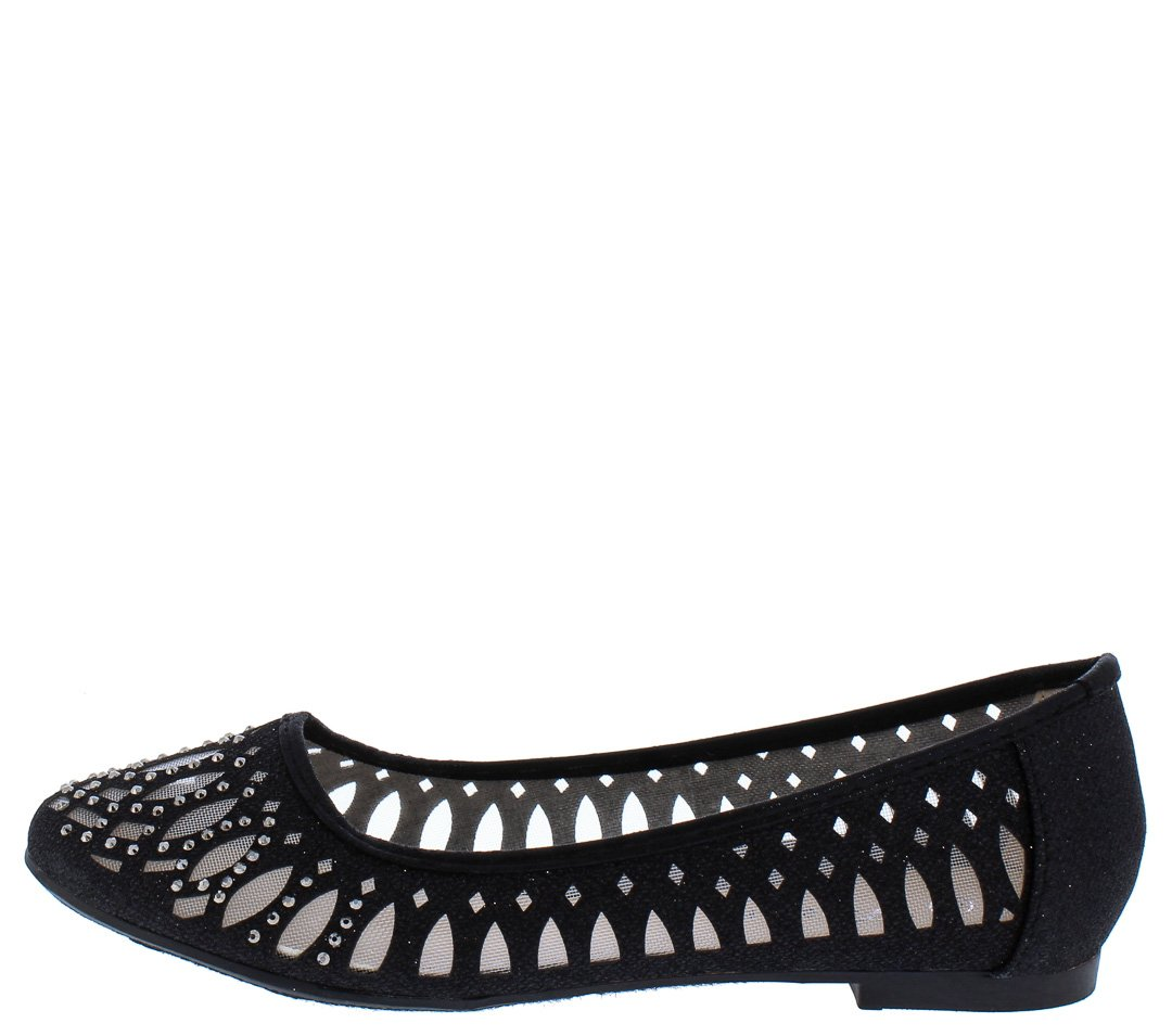 e559d8f54 Karra14 Black Rhinestone Studded Laser Cut Ballet Flat - Wholesale Fashion  Shoes
