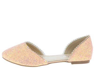 Karra73 Dusty Rose Glitter Scalloped Dorsay Ballet Flat - Wholesale Fashion Shoes