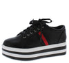 Kassy Black Red Pu Women's Flat - Wholesale Fashion Shoes