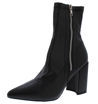Eliza283 Black Side Zip Pointed Toe Ankle Boot - Wholesale Fashion Shoes
