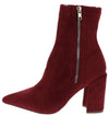 Eliza283 Burgundy Side Zip Pointed Toe Ankle Boot - Wholesale Fashion Shoes