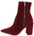 Eliza283 Burgundy Side Zip Pointed Toe Ankle Boot