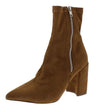 Eliza283 Tan Side Zip Pointed Toe Ankle Boot - Wholesale Fashion Shoes