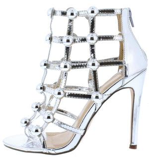 5bf142dc03a Allison256 Silver Open Toe Stud Caged Rear Zip Heel - Wholesale Fashion  Shoes
