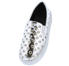 GERMANA685 SILVER MIRROR WOMEN'S FLAT - Wholesale Fashion Shoes