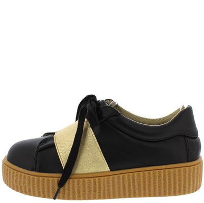 Nicole6 Black Gold Metallic Lace Up Sneaker Flat - Wholesale Fashion Shoes