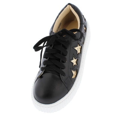 Anita524 Black Glitter Gold Star Lace Up Sneaker Flat - Wholesale Fashion Shoes