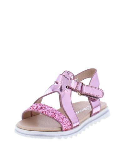 Katty Pink Metallic Sparkle Open Toe Cut Out Infants Sandal - Wholesale Fashion Shoes