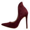 Kay Burgundy Pointed Toe High Back Collar Stiletto Pump Heel - Wholesale Fashion Shoes
