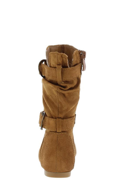 Kayden84k Tan Scrunched Ring Buckle Strap Kids Boot - Wholesale Fashion Shoes
