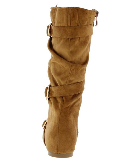 Kayden88 Tan Scrunched Multi Side Ring Buckle Boot - Wholesale Fashion Shoes