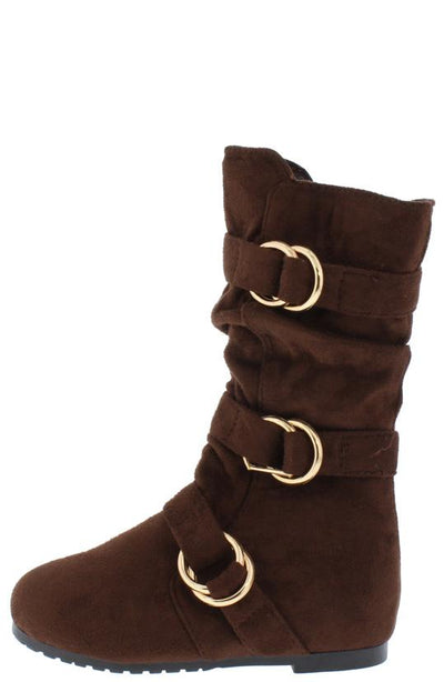 Kayden88k Brown Scrunched Multi Side Buckle Kids Boot - Wholesale Fashion Shoes