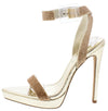 Kazia Gold Embellished Open Toe Low Platform Stiletto Heel - Wholesale Fashion Shoes