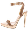 Kazia Rose Gold Embellished Open Toe Low Platform Stiletto Heel - Wholesale Fashion Shoes