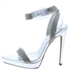 Kazia Silver Embellished Open Toe Low Platform Stiletto Heel - Wholesale Fashion Shoes