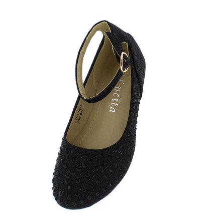 Kd17km Black Rhinestone Ankle Strap Kids Flat - Wholesale Fashion Shoes