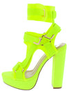 Keandra07 Neon Yellow Multi Strap Cut Out Platform Heel - Wholesale Fashion Shoes