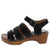 Keen09a Black Strappy Open Toe Cut Out Wood Heel