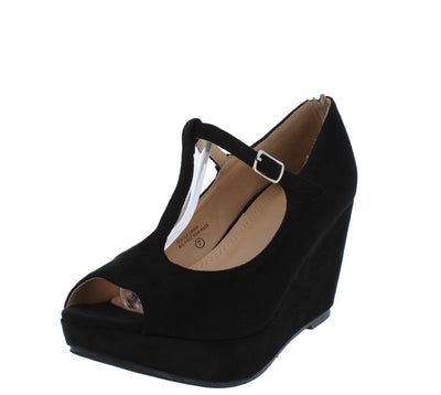 Samm196 Black Peep Toe T Strap Platform Wedge - Wholesale Fashion Shoes