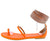Kelia Neon Orange Open Toe Rhinestone Ankle Wrap Micro Heel