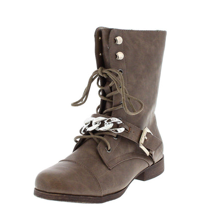 Kellie4 Taupe Chain Combat Boot - Wholesale Fashion Shoes