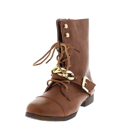 Kellie4 Camel Chain Combat Boot - Wholesale Fashion Shoes