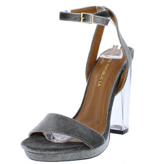 KELLIE GREY VELVET GLAM WOMEN'S LUCITE HEEL - Wholesale Fashion Shoes