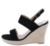 Kelly10 Black Open Toe Slingback Espadrille Wedge - Wholesale Fashion Shoes