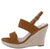 Kelly10 Camel Open Toe Slingback Espadrille Wedge