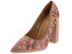 KENA2 BLUSH FLOWER EMBROIDERED POINTED TOE PUMP CHUNKY HEEL - Wholesale Fashion Shoes